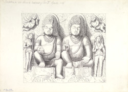 Ajanta: Sculpture in side shrine in back wall of Cave II.